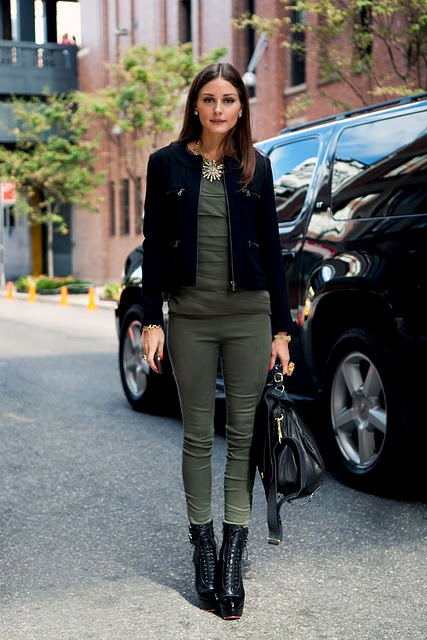 olive green and black