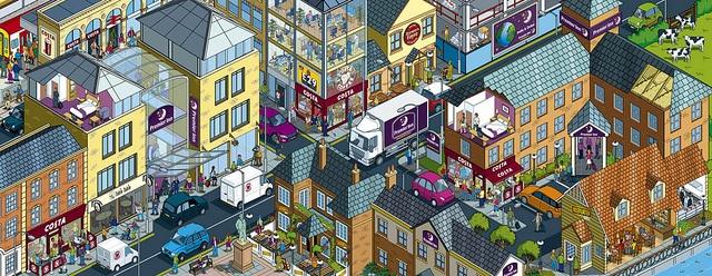 Whitbread website cityscape illustration - Morning scene by Rod Hunt   http://www.rodhunt.com