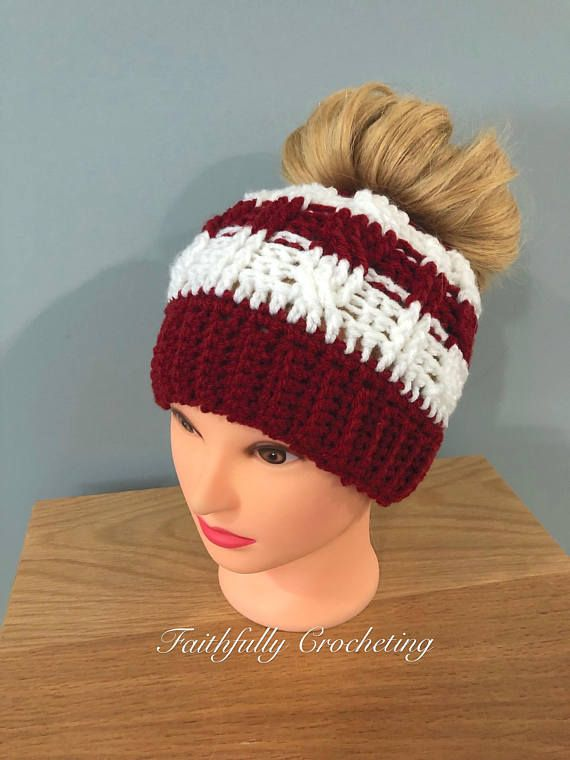 2c72fe3ebbf Messy bun hat... autumn red and white messy bun beanie... ready to ship..  cable messy bun hat