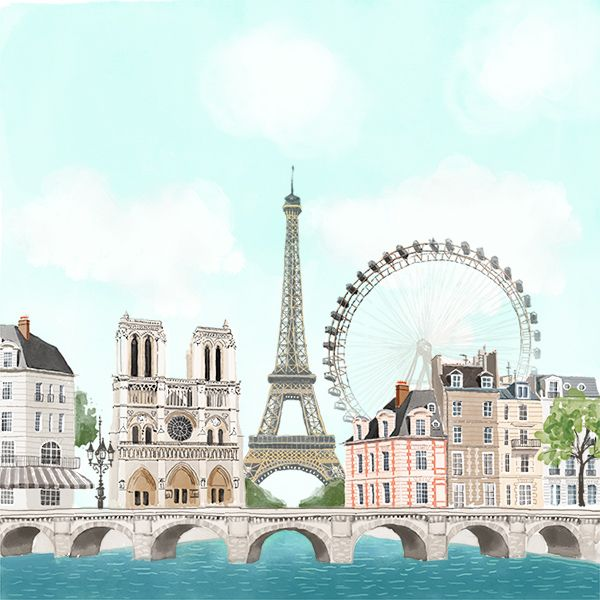 Paris city view-stationery illustration on Behance