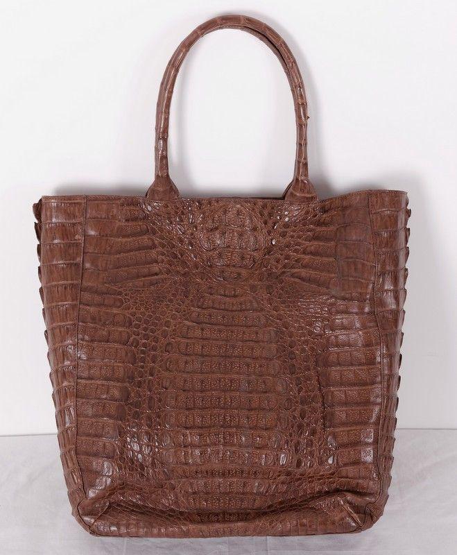 Большая сумка из натуральной крокодиловой кожи, коричневая