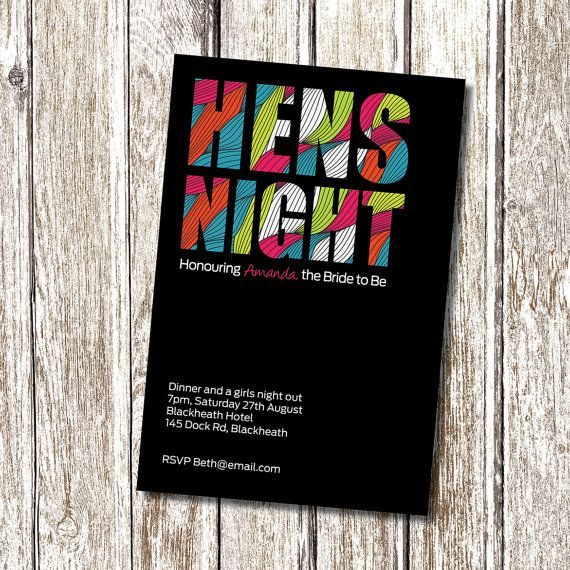Hens Night Invitation - FUNKY - Printable and Personalised