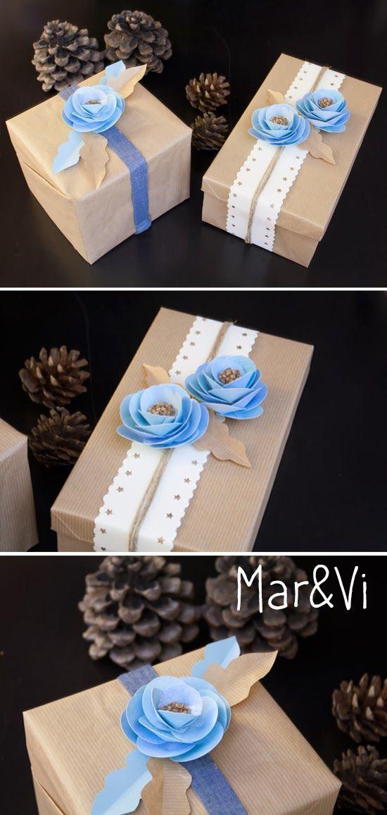 Incartare i regali con i fiori di carta - tutorial www.marandvicreativestudio.com