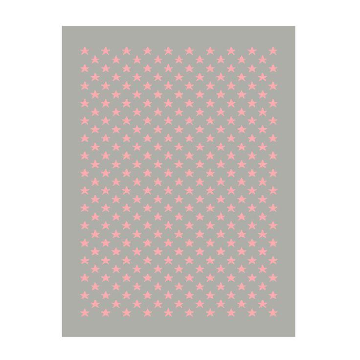 Lorena Canals Teppich grau Sternchen pink 200 x 300 cm