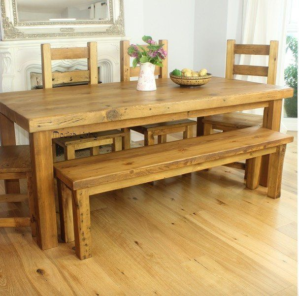 modern rustic wood furniture. moss reclaimed wood dining bench with table modish living furniture modern rustic