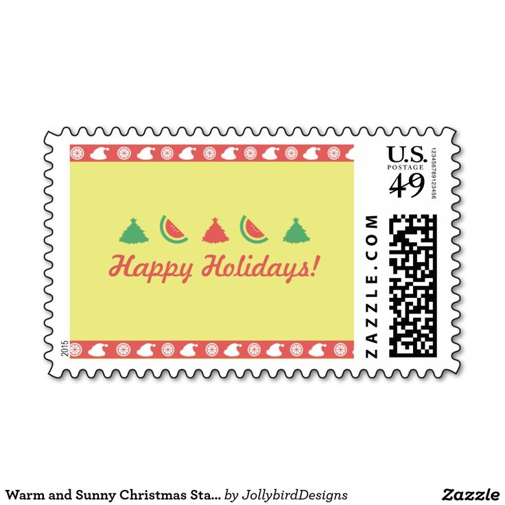 Warm and Sunny Christmas Stamps #warm #sunny #Christmas #xmas #xmascollection #tropicalfruits #tree #santaclaus #watermelon #orange #postage #stamp