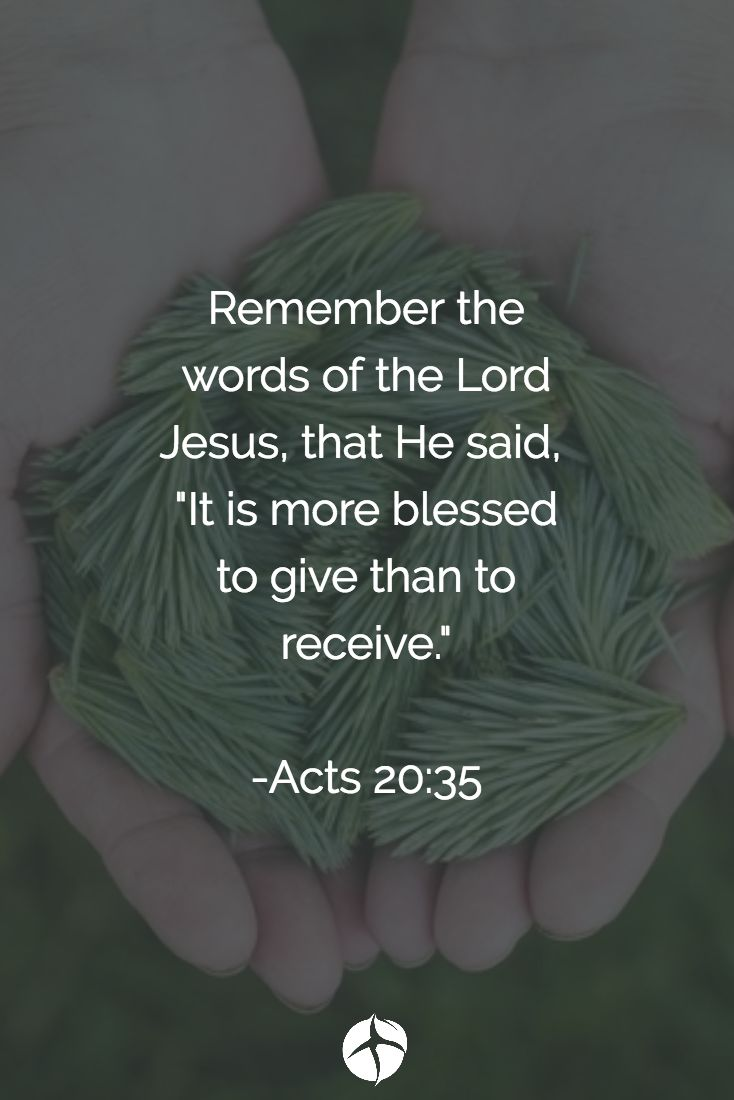 It's always more blessed to give than to receive.