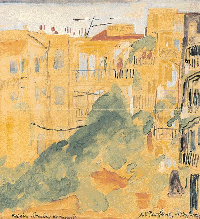 .:. Πεντζίκης Νίκος Γαβριήλ – Nikos Gavriil Pentzikis [1908-1993] Θεσσαλονίκη, οπισθεν κατοικιών, 1949