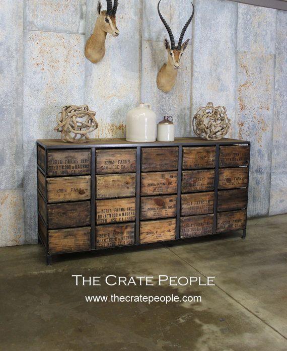 FREE SHIPPING - 20 Zoria Crate Credenza - Rustic Crates & Barnwood - Custom…