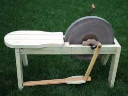 Treadle Grinder - Homemade treadle grinder constructed from treated oak and maple.