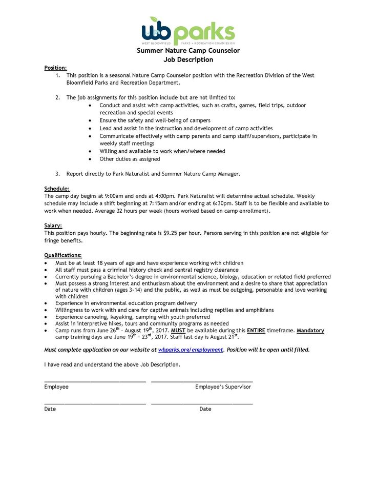 Best Camp Counselor Job Description Images Office Worker Resume