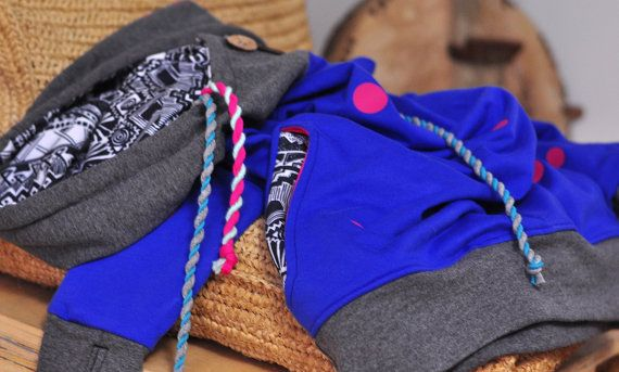 POLKA DOT HOODIE blue gray and pink dots with colorful cords and coconut buttons