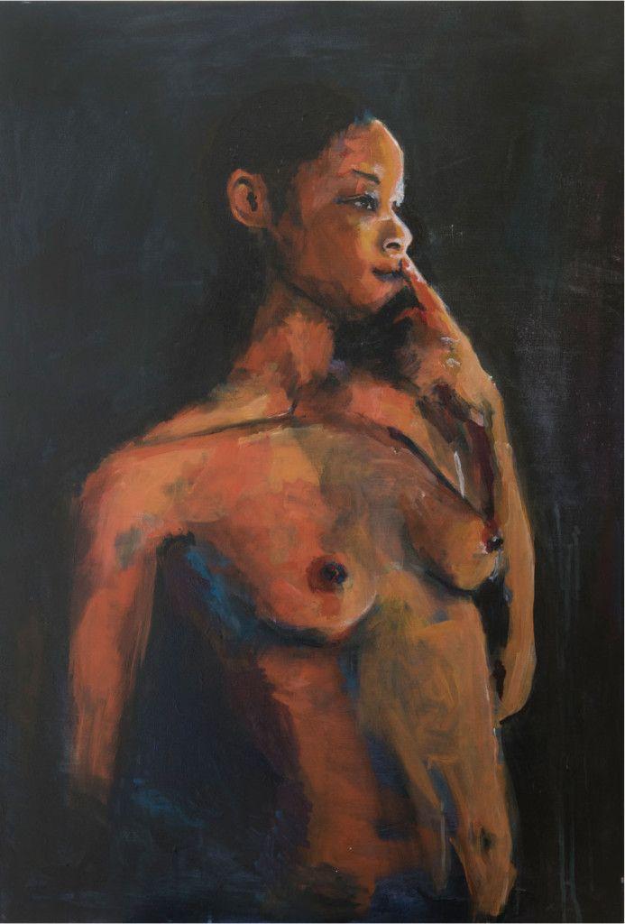Schilderij 'Sylvana' 70 x 100 cm  € 2.495,- Voor dit schilderij stond actrice Sylvana Simons model. Het unieke en enige exemplaar is te koop. www.gaidombre.nl