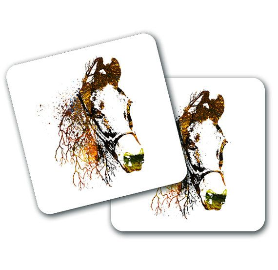 Nature Horse Design Coasters Set of 4 by LookNFindLtd on Etsy