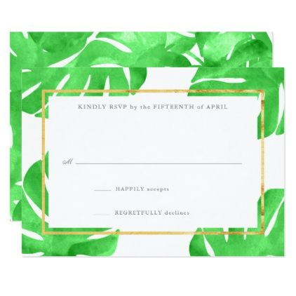 #Tropical Themed Gold Reply Cards - #weddinginvitations #wedding #invitations #party #card #cards #invitation #elegant