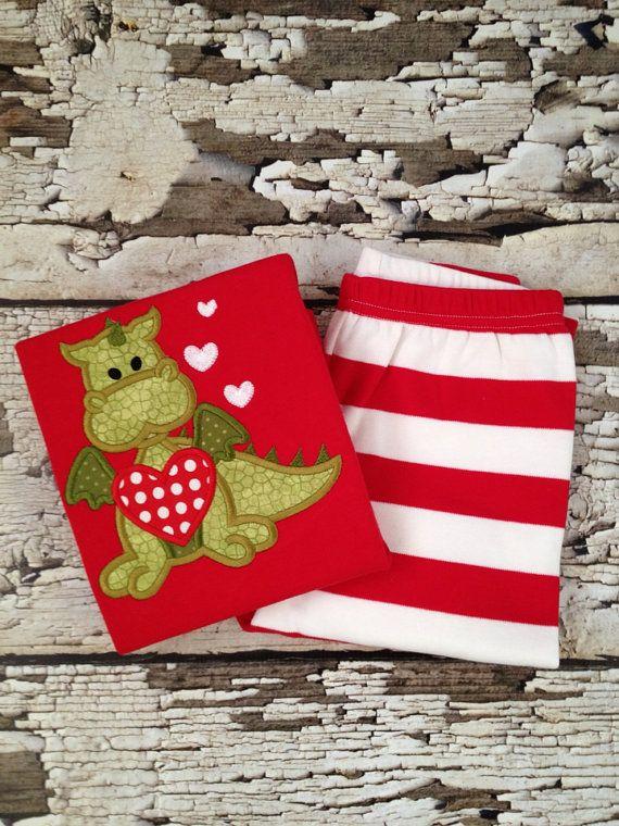 Valentine Pajamas - Red Dragon Valentine's Pjs - Red/White Striped Pajamas - Dragon VDay Outfit - Boys PJs on Etsy, $30.00