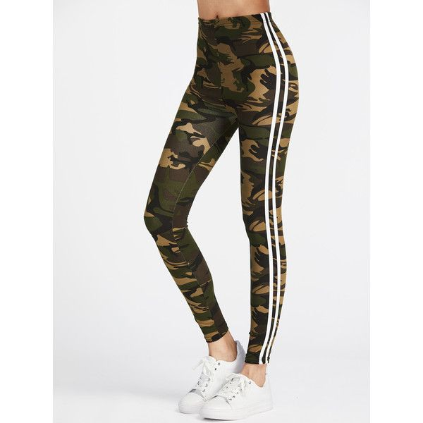 Camo Print Striped Side Leggings ($7.59) ❤ liked on Polyvore featuring pants, leggings, green, white stretch pants, print leggings, stretch leggings, green camouflage pants and camouflage leggings