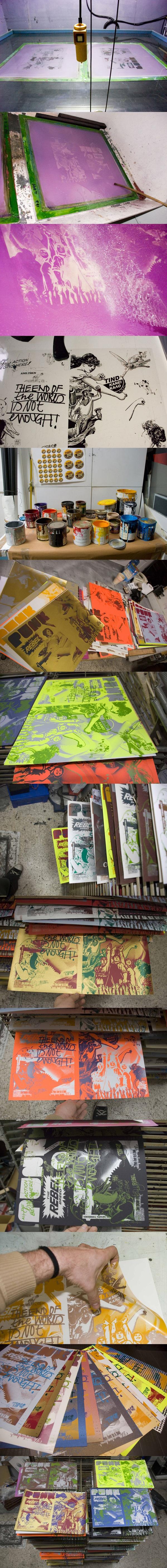 silkscreen printing by tind , via Behance