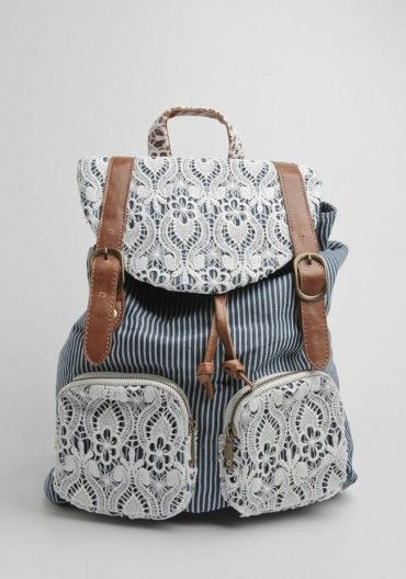 This lace adorned backpack is perfect for a day out and about or headed back to school in the fall!