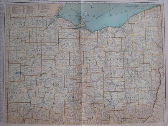 1932 Uncommon Ohio Map Of Ohio With Railroads By Plaindealing