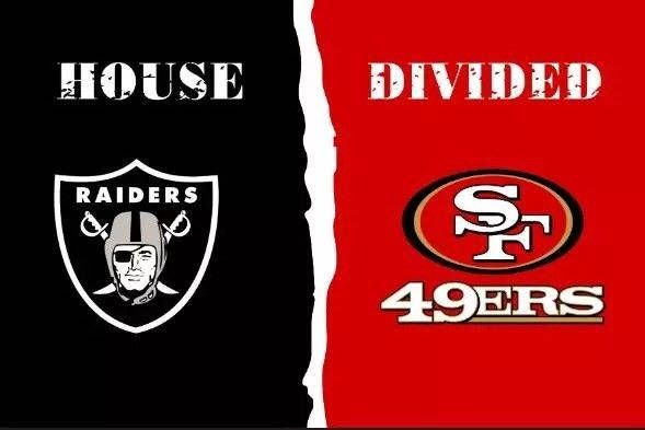 $11.99 NFL Oakland Raiders San Francisco 49ers House Divided Flag 3 x 5 ft, 2 Grommets, 30+ Football Team Options, Rivalry Banner  #collectibles #birthday #valentinesday #blue #lasvegasraiders #oaklandraiders #sanfrancisco49ers #raidersflag