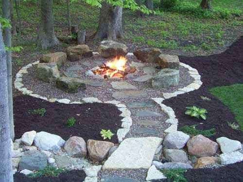 The Boulders Placed Around This Fire Pit Are Used For Seating As Itself Is At Ground Level A Surface Key P