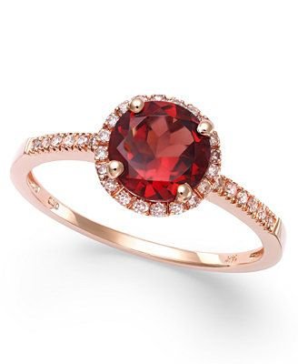 Garnet (1-3/8 ct. t.w.) and Diamond (1/8 ct. t.w.) Ring in 14k Rose Gold
