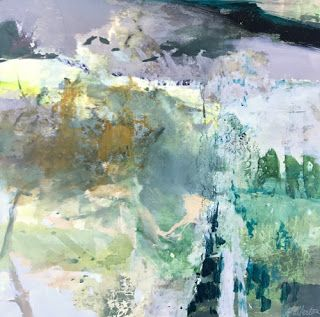 """Joan Fullerton Paintings-Abstract Landscape Painting""""Untethered"""" by Intuitive Artist Joan Fullerton"""