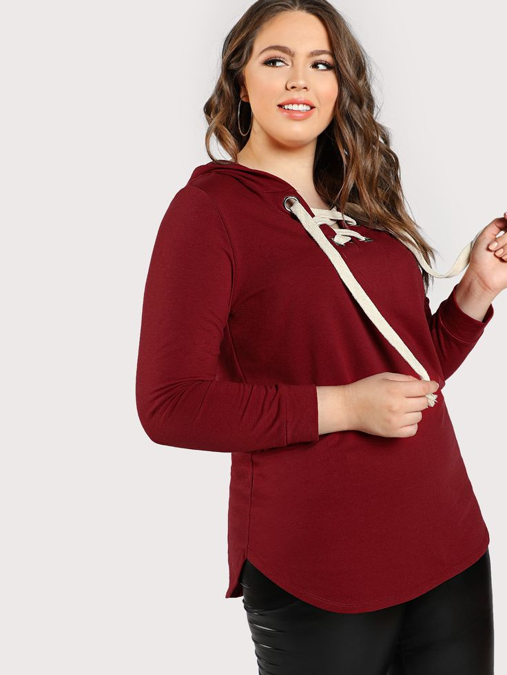 Shop Eyelet Lace Up Curved Hoodie online. SheIn offers Eyelet Lace Up Curved Hoodie & more to fit your fashionable needs.