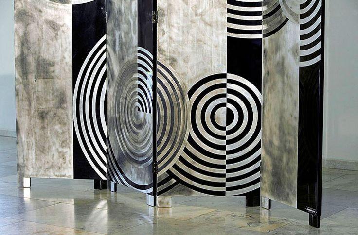 ... Art Deco Antiques Atelier Algier Paravent Screen Design Circles 101-3