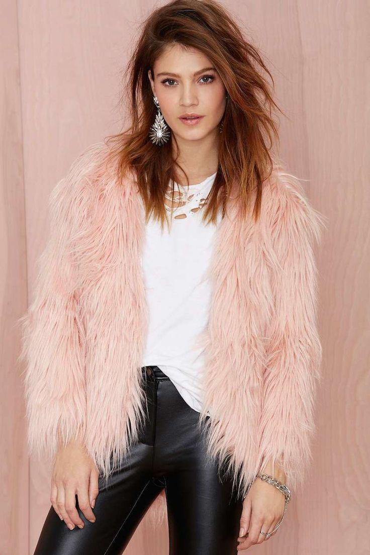 Nastygal faux fur pink jacket