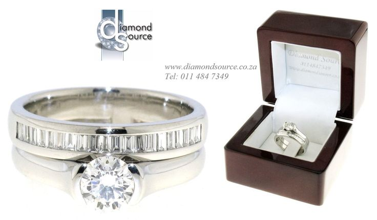 PLATINUM & DIAMOND SET -  This set we crafted from Platinum. The engagement ring is set with a 0.70ct. Round Brilliant-cut diamond and the wedding band with Baguette-cut diamonds. Please email or call us with any queries. FREE QUOTATIONS on any jewellery design you require. E: info@diamondsource.co.za W: www.diamondsource.co.za T: 011 484 7349