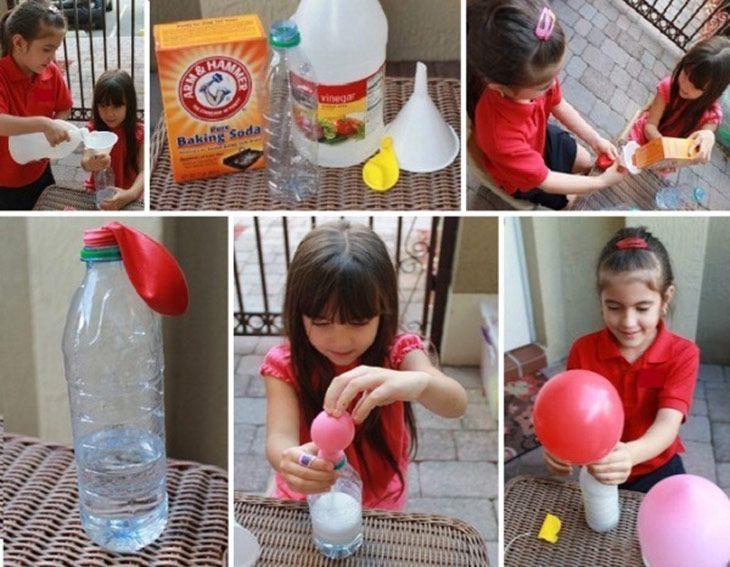 Llenar-globos-sin-helio Ingredientes: Vinagre Bicarbonato sódico Dos embudos Una botella de plástico Echa vinagre en la botella de plástico hasta la mitad,  Echa un poco bicarbonato en globo. Coloca el globo sin inflar, en la boca de la botella, y cuando lo tengas bien sujeto,  deja que el bicarbonato del globo caiga dentro de la botella con el vinagre.