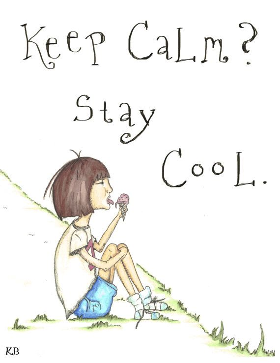 "Stay Cool 8.5 x 11"" Print of original watercolorcolor pencil and pen illustration"