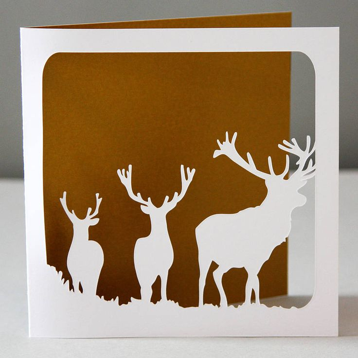 stags silhouette christmas card by whole in the middle | notonthehighstreet.com