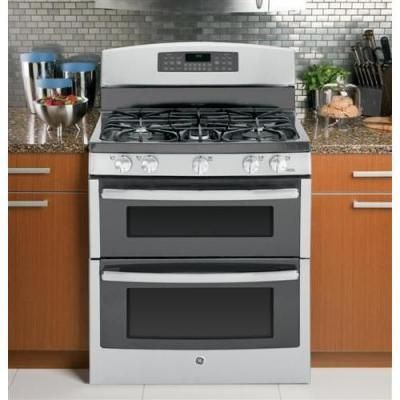 Ge 6 8 Cu Ft Double Oven Gas Range With Self Cleaning