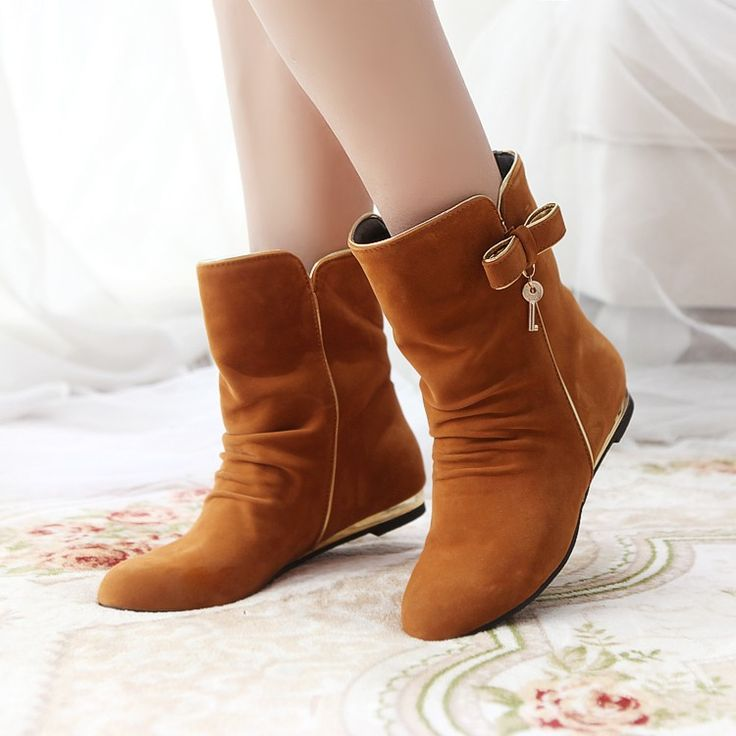 Womens Oxford Bowknot Sweet Metal Flats Pull On Roma Ankle Boots Shoes
