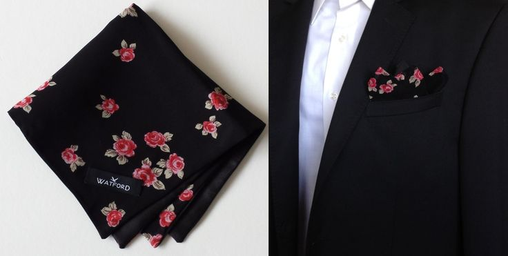 Rose print in Georgette with black satin lining - Pocket Square (Double-sided)