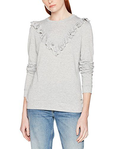 Tom Tailor Denim Ruffle Sweater Felpa Donna Argento (Light Silver Grey  2973) Small ace4e1600fac