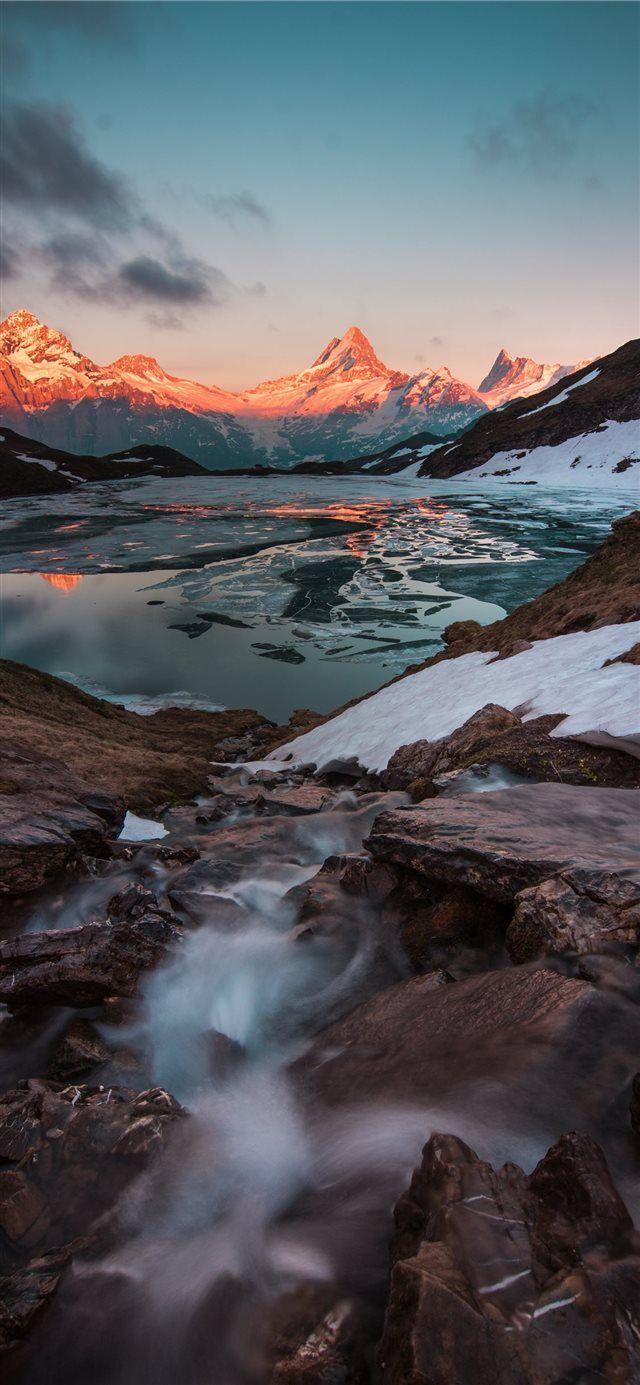 Bachalpsee Grindelwald Schweiz iPhone X Wallpaper #Schnee #Herbst #Abend …
