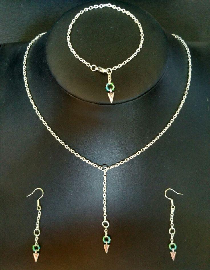 Parure minimaliste Flèche ethnique chic, chaîne argentée et perles vert d'eau (BO+collier+bracelet) : Parure par ma-petite-boutik