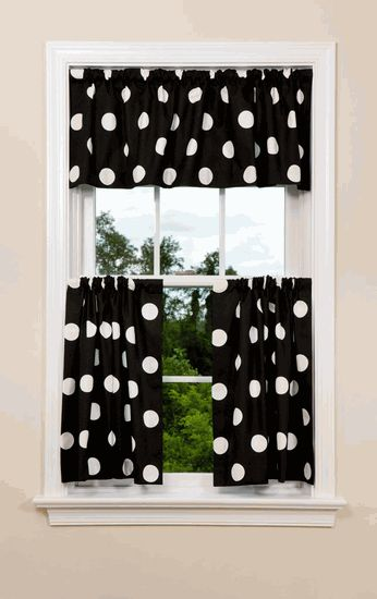 Kitchen Curtains...even if it is not in the kitchen, I WILL have black and white polka dots in one room in my dream house one day