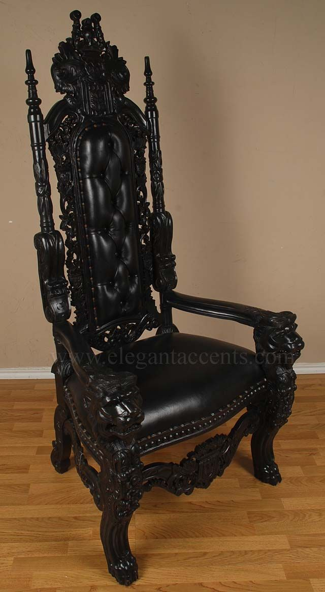 6 Gothic King Lion Throne Chair with distressed black