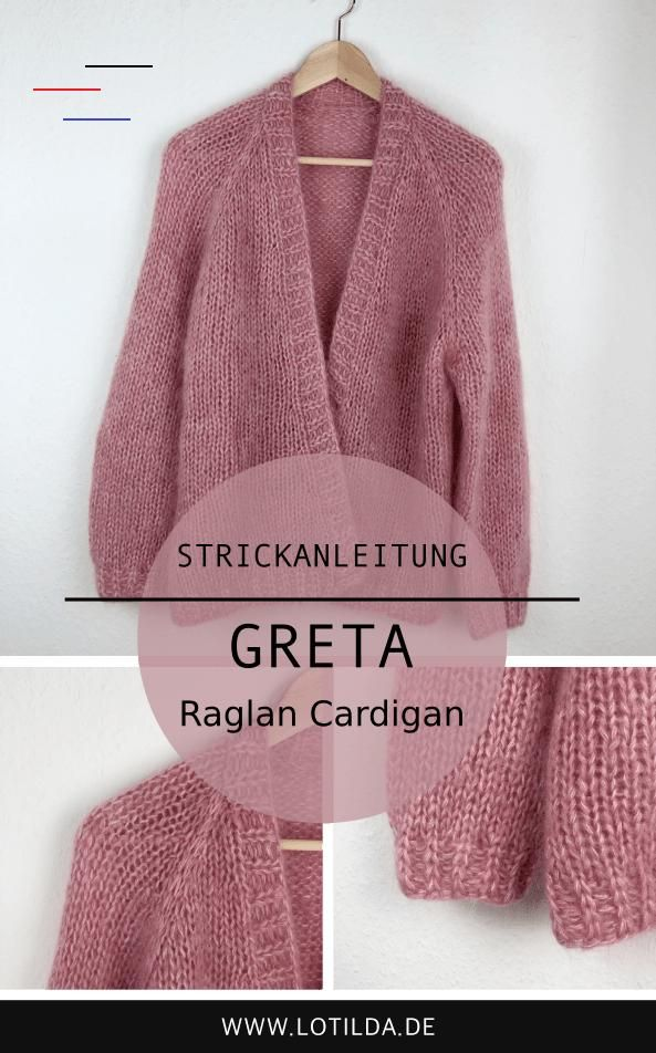 GRETA Oversize Raglan Cardigan mit Blende • LOTILDA