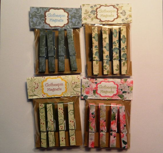 Decorated Clothespin Magnets by JandKKreations on Etsy, $5.00