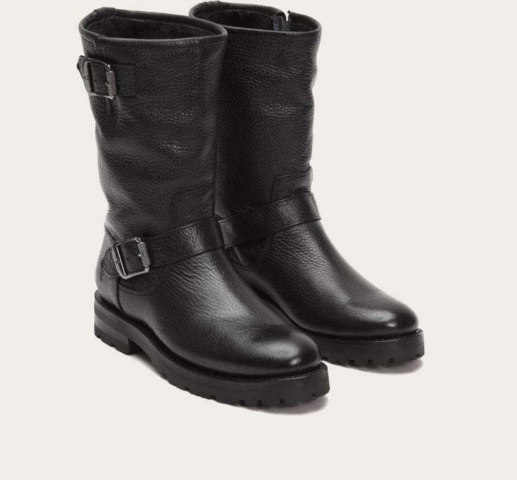 Black - Natalie Mid Engineer Lug Shearling | FRYE Boots