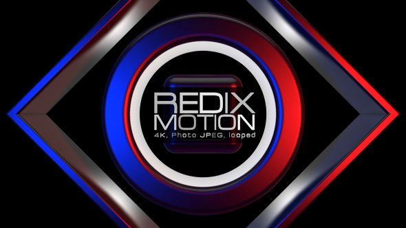 Redix Motion Video Animation | 4K 3840×2160 | Looped | Photo JPEG | Can use for VJ, club, music perfomance, party, concert, presentation | #3d #4k #abstract #blue #dance #disco #edm #geometric #metallic# music #polygonal #rave #red #techno #vj