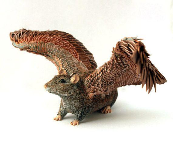 Brown Rat Winged figurine art sculpture pet Rat от DemiurgusDreams