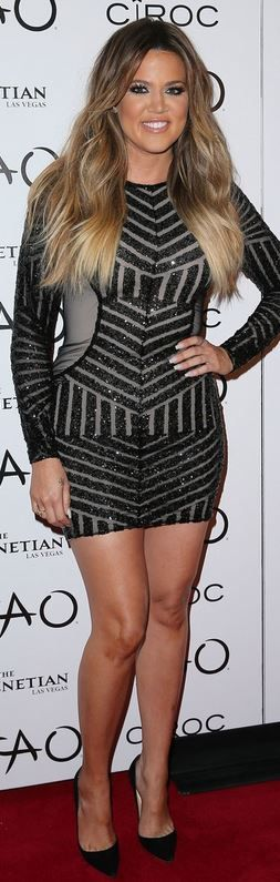 Khloe Kardashian: Dress – Michael Costello  Shoes – Christian Louboutin
