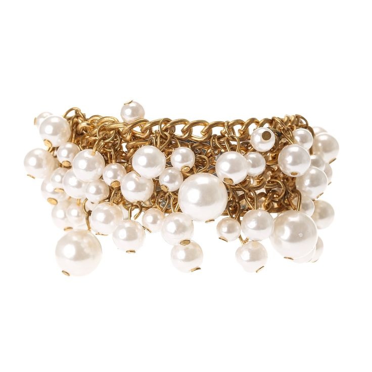 Gold Pearl Cluster Bracelet from Claires